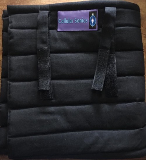 Cellular Sonics black linen padded pouch